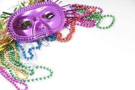 image of mardi gras mask  - Mardi gras mask and beads - JPG