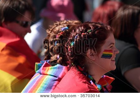 Brisbane, Qld Australia - August 11 : Unidentified Woman Smiling In Support Of Speeches On August 11