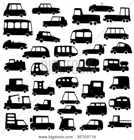 set of cartoon cars silhouettes