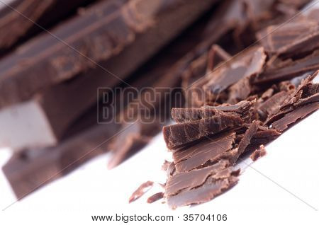 slices of dark bitter chocolate