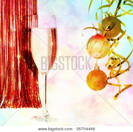 Champagne glass in celebratory scenery
