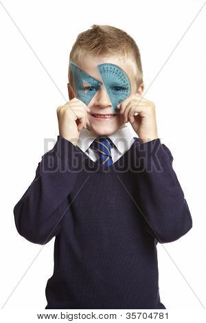 School Boy With Blue Set Square And Protractor