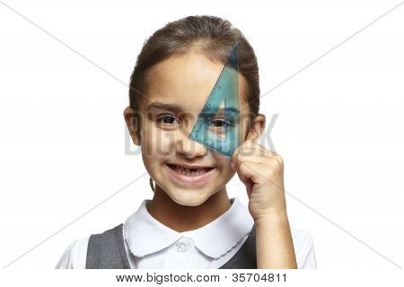 School Girl With Blue Set Square
