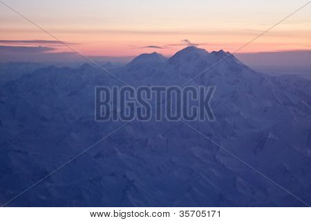 Aerial Of Denali At Sunset