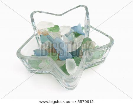 Glass Stones In Star Dish