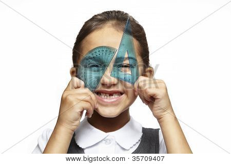 School Girl With Blue Set Square And Protractor