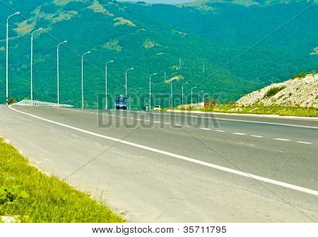 Mountain landscape - empty highway, Motorway