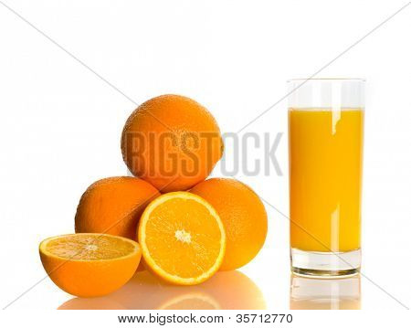 Fresh juicy oranges. Isolation on the white
