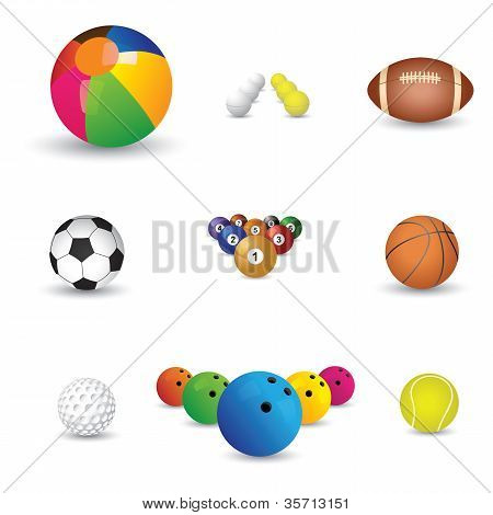 Collection Of Colorful Sports Balls Illustration. The Graphics Include Balls From Sports Like Tennis