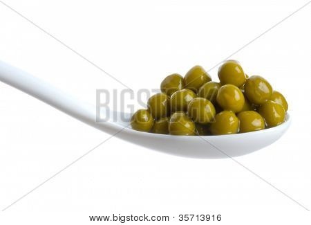 Green peas vegetable seed in spoon