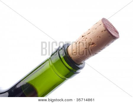 detail of wine bottle being opened; isolated on white ground