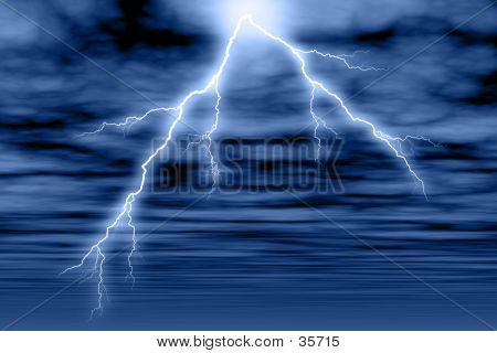 Storm Cloud And Lightning In Blue