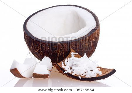 Cracked coconut/ on white isolated