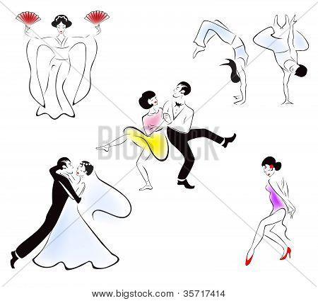 Illustration of five dance styles