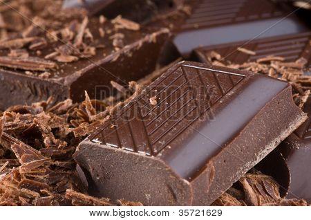 Scheiben schwarz-bitter-Schokolade