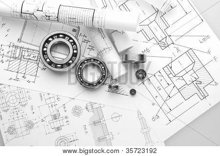 Herramientas de construcción en un fondo del dibujo.