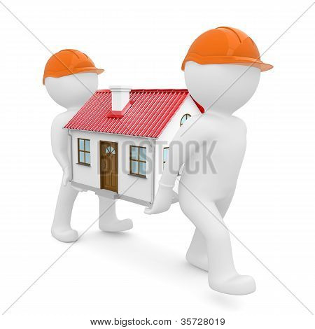 Two workers in hard hats have house with red roof
