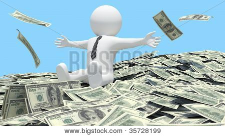White man sitting on a pile of money