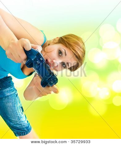 Woman Holding Video Game Controller