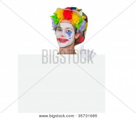 Advertising Clown With Billboard