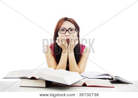 Frightened Girl With Textbooks