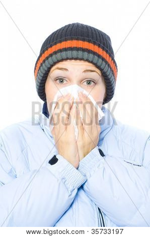 Pretty woman sneeze. flu