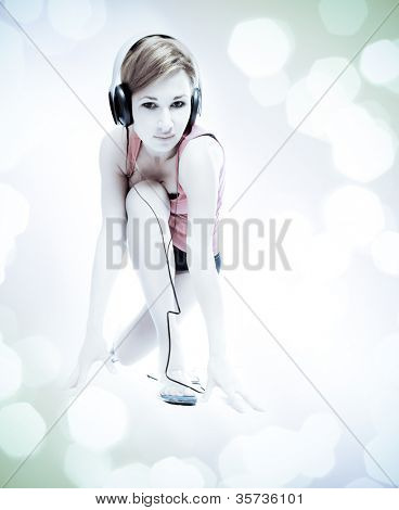 beautiful sexual woman in headphones