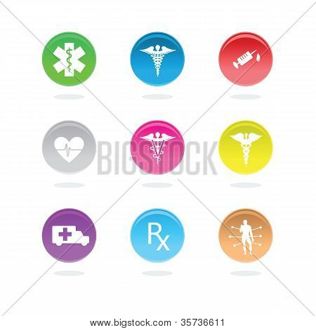 Medical icons in color circles