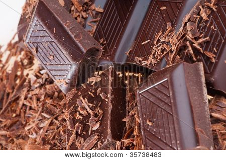 Slices of black bitter chocolate