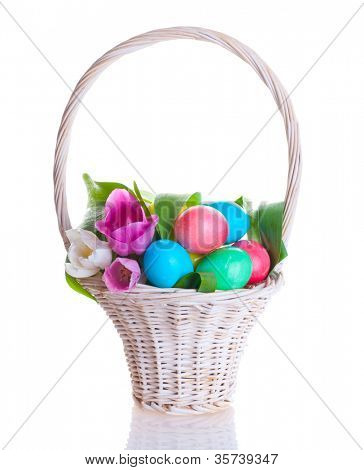 Easter colored eggs and pink tulips in in basket