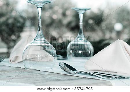 White Fine  Table Setting. summer