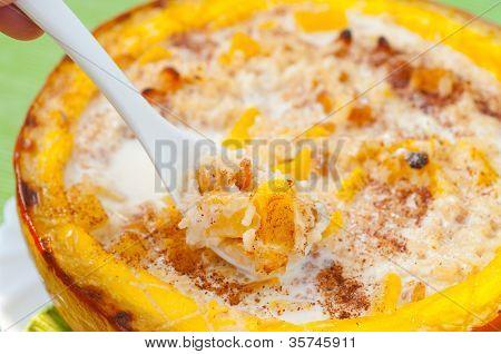 rice porridge baked in a pumpkin
