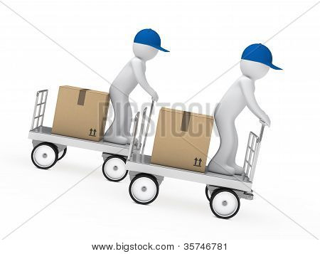 Two Figures Drive A Trolley