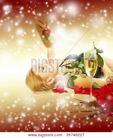 Sexy happy woman over holiday light background