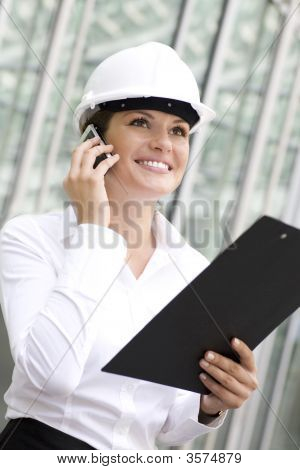Female Architect Holding A Clipboard