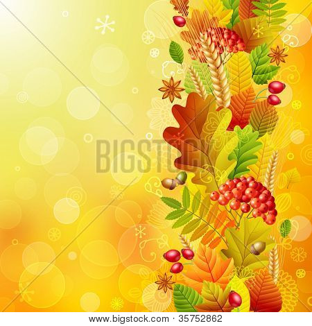 Autumn background with colorful leaves. Check my portfolio for vector version.