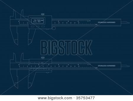 Vernier Caliper Digital And Basic Tools Blueprint