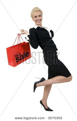 Happy Lady With Shopping Bag