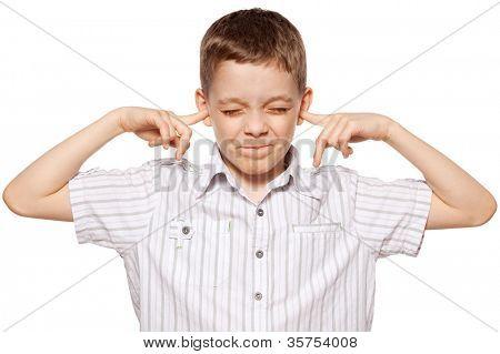 Child closed her ears. Boy ignoring
