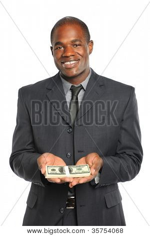 African American businessman holding stack of money isolated over white background