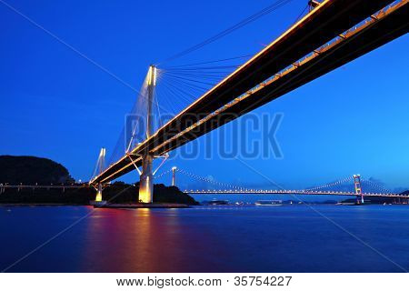 Ting Kau Bridge and Tsing ma Bridge at evening, in Hong Kong
