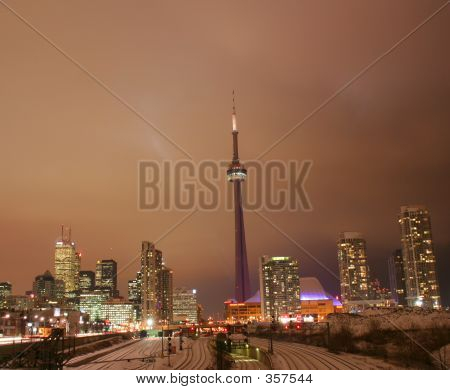 Toronto City Lights At Night In Glowing Glory