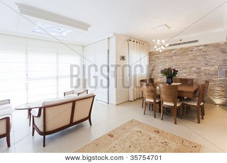 Modern living and dining room
