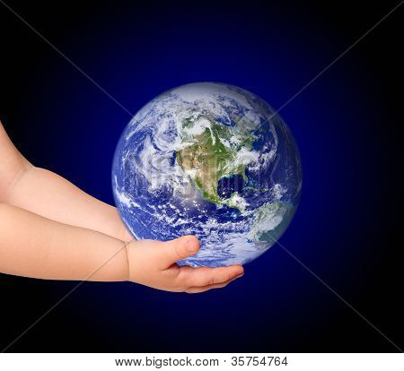 Little girl hold globe on black (elements furnished by NASA)