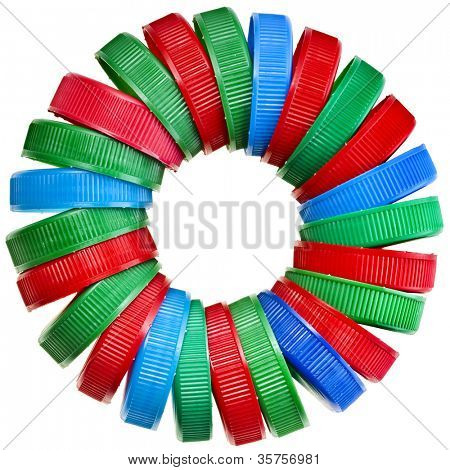circle of colorful plastic bottle cups  isolated on white