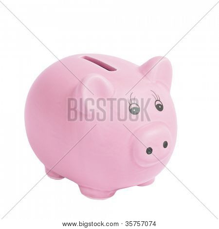 Pink pig money box isolated on a white background