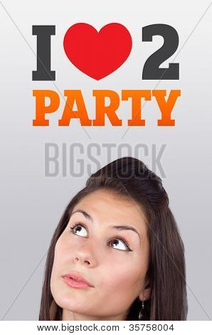 Young girl head looking with gesture at party icons and sign