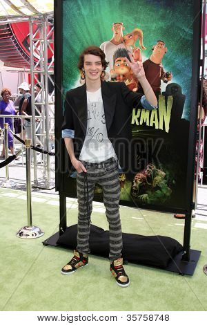 """LOS ANGELES - AUG 5:  Kodi Smit-McPhee arrives at the """"ParaNorman"""" Premiere at Universal CityWalk on August 5, 2012 in Universal City, CA"""