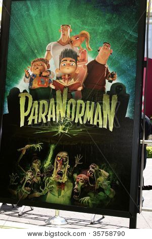 "LOS ANGELES - AUG 5:  Poster for ParaNorman at the ""ParaNorman"" Premiere at Universal CityWalk on August 5, 2012 in Universal City, CA"