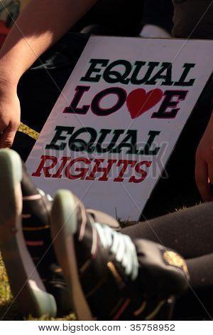 Brisbane, Qld Australia - August 11 : Equal Love Sign Amongst Crowd On August 11 2012  In Brisbane,